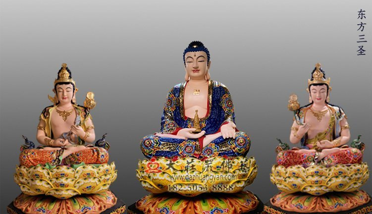 东方三圣脱胎佛像