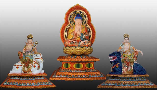 铜雕华严三圣彩绘佛像