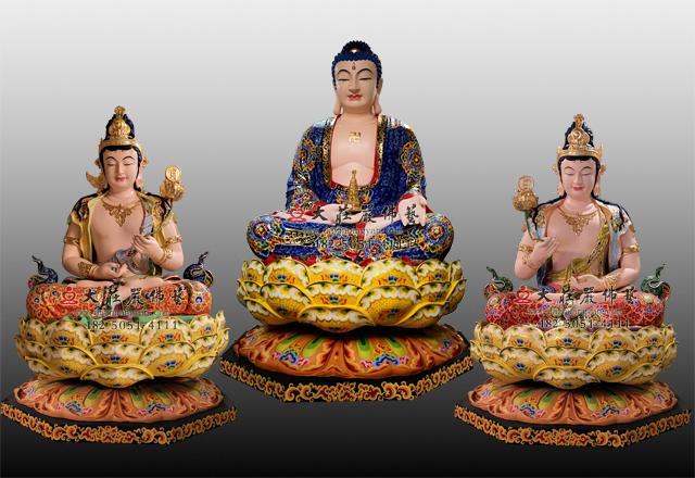 铜雕东方三圣彩绘佛像