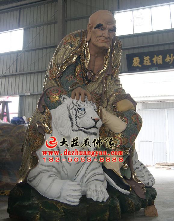 铜雕弥勒尊者彩绘侧面塑像