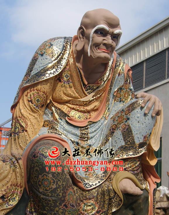 阿氏多尊者侧面彩绘塑像