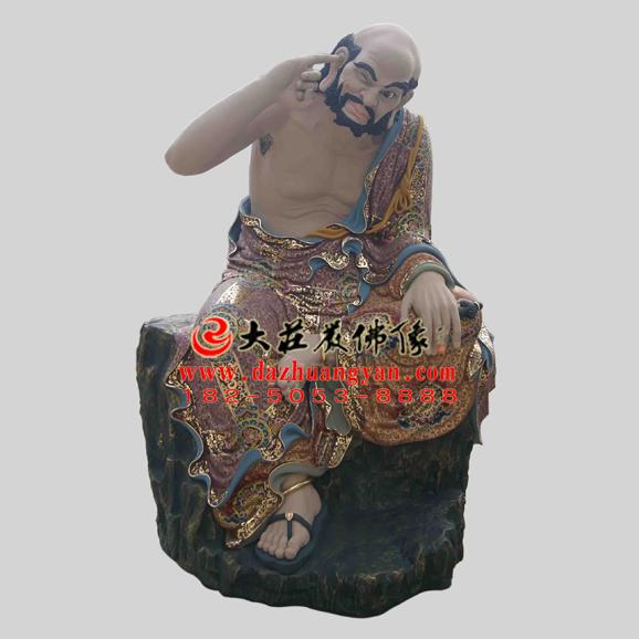 铜雕迦诺迦代蹉尊者彩绘塑像
