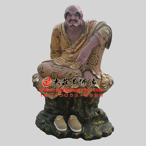 铜雕罗汉罗怙罗尊者彩绘塑像