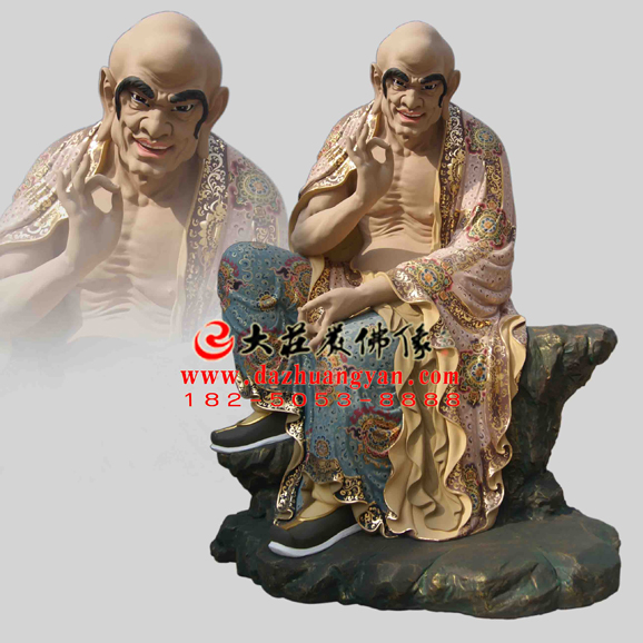 铜雕罗汉苏频陀尊者彩绘塑像