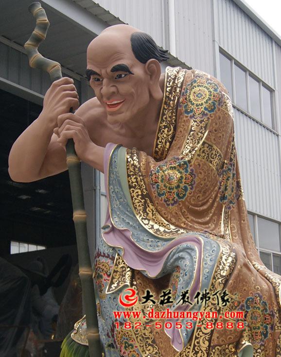 伐阇罗弗多罗尊者侧面彩绘塑像