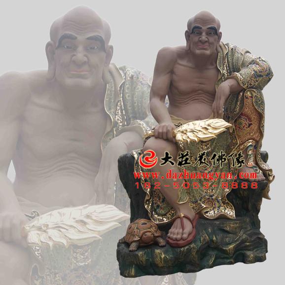 铜雕戍博迦尊者彩绘塑像