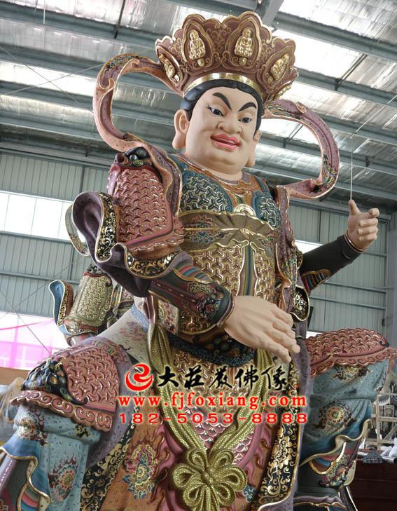 铜雕四大天王之东方持国天王彩绘侧面塑像