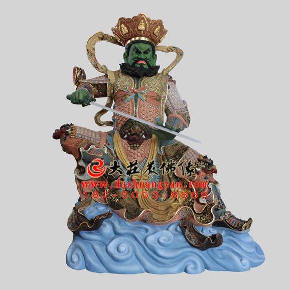 铜雕四大天王之南方增长天王彩绘塑像