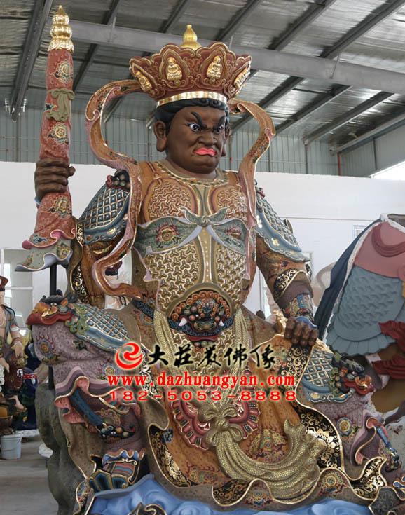 北方多闻天王彩绘侧面塑像