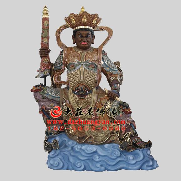 铜雕四大天王之北方多闻天王彩绘塑像