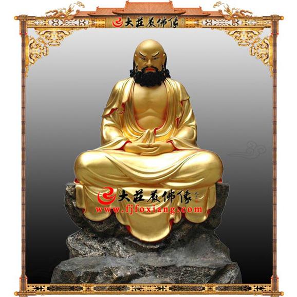 铜雕达摩祖师贴金塑像