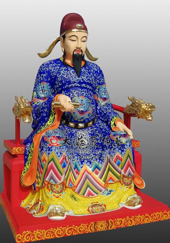铜雕彩绘文昌帝君侧面塑像