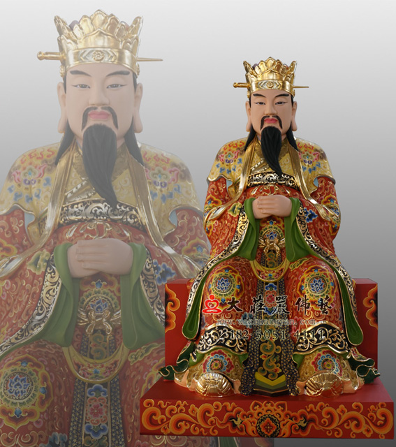 铜雕三一教主林兆恩彩绘神像