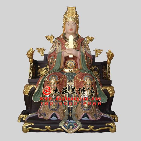 铜雕临水夫人彩绘神像