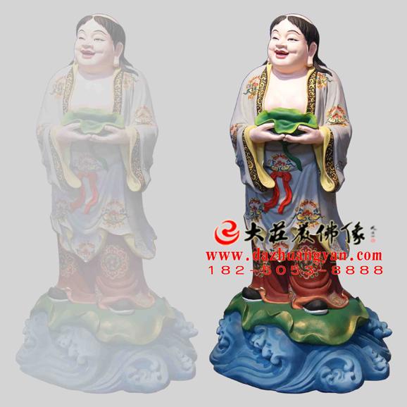铜雕和合二仙彩绘神像