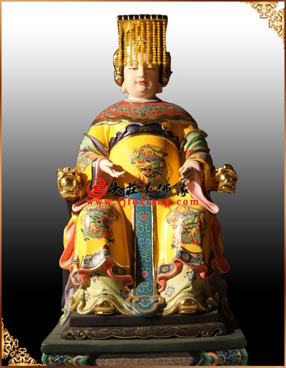 铜雕西王母彩绘神像