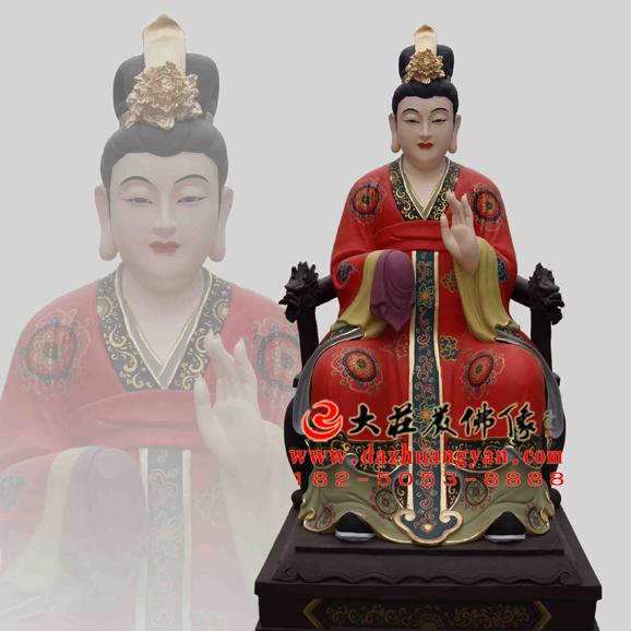 铜雕引蒙娘娘彩绘神像