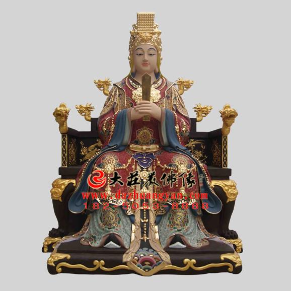 铜雕林九娘彩绘贴金神像