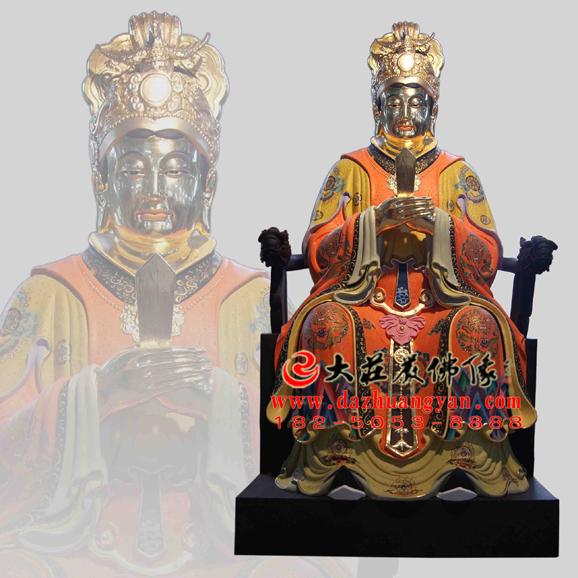 铜雕王母娘娘彩绘贴金神像