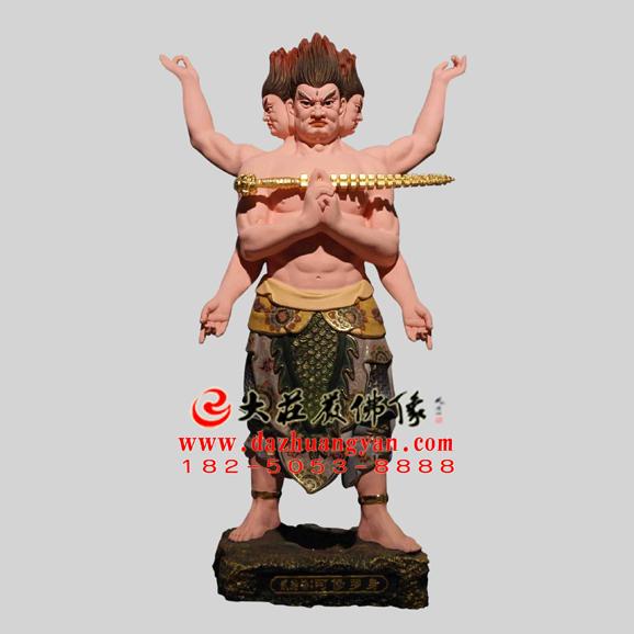生漆脱胎观音三十二应身之阿修罗彩绘塑像