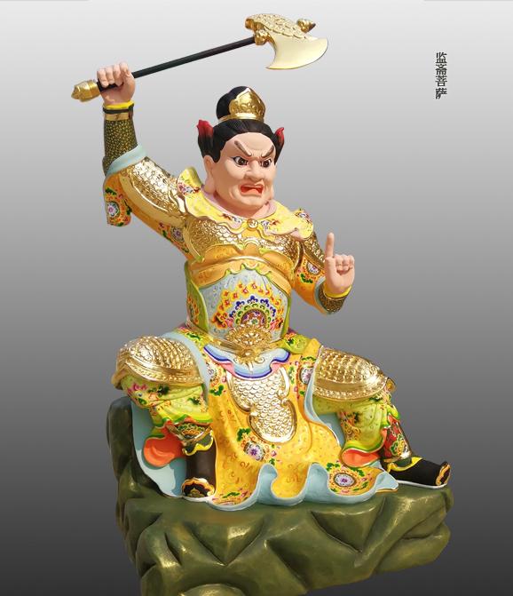 监斋菩萨彩绘塑像左侧照