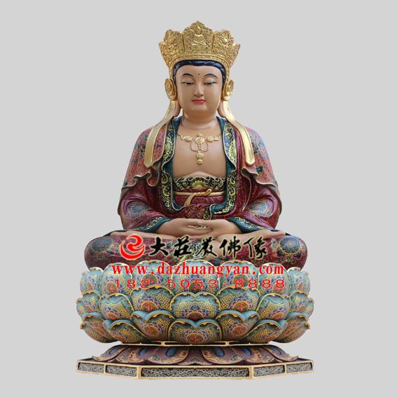 铜雕毗卢观音彩绘塑像