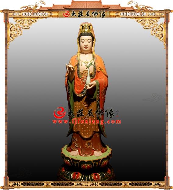 铜雕甘露观音彩绘塑像