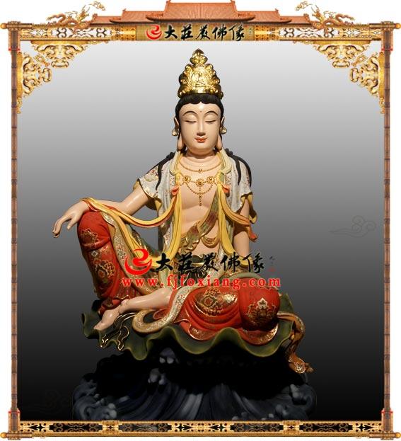 铜雕水月观音彩绘佛像