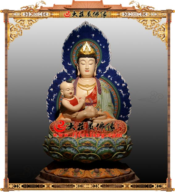 铜雕送子观音彩绘佛像