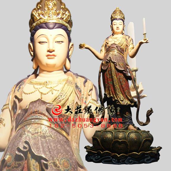 铜雕八大菩萨之文殊菩萨彩绘佛像