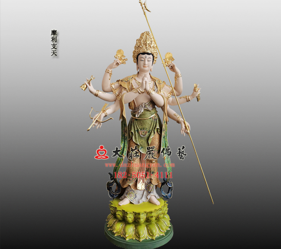 摩利支天铜雕彩绘佛像