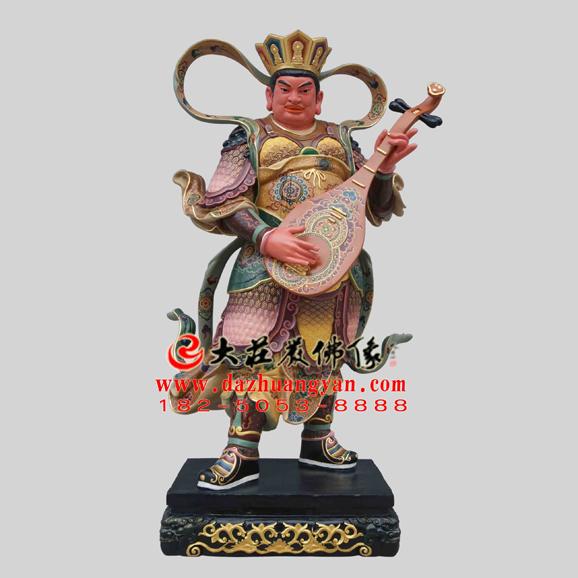 铜雕二十诸天之持国天王彩绘塑像