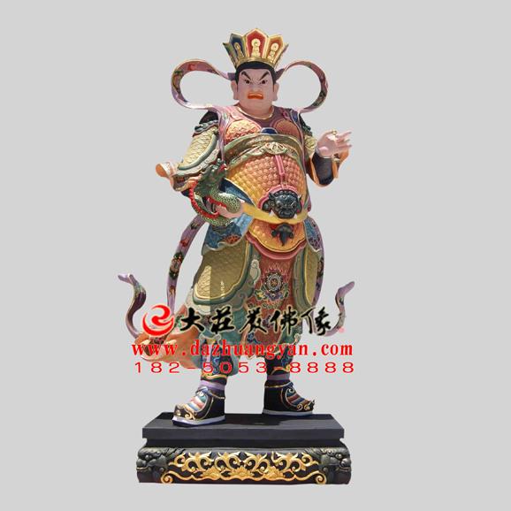 二十诸天之西方广目天王彩绘塑像