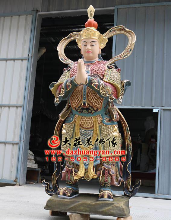 二十诸天之韦驮天彩绘塑像右侧照