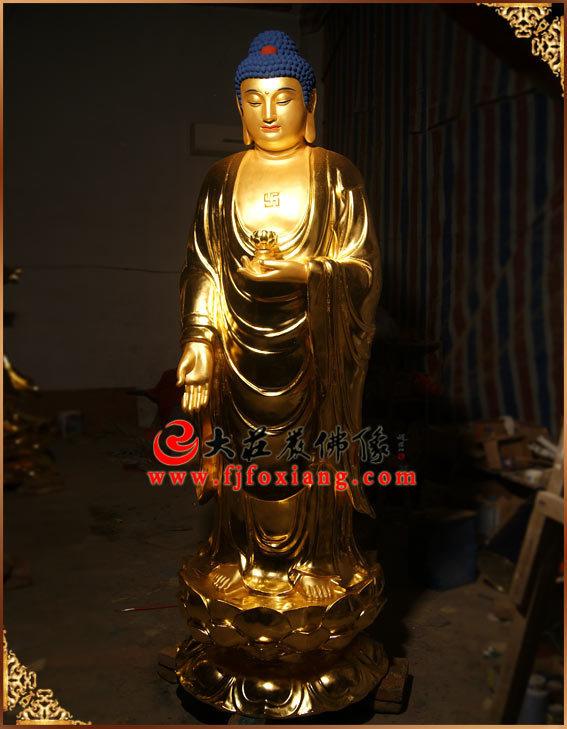 西方三圣之阿弥陀佛贴金佛像