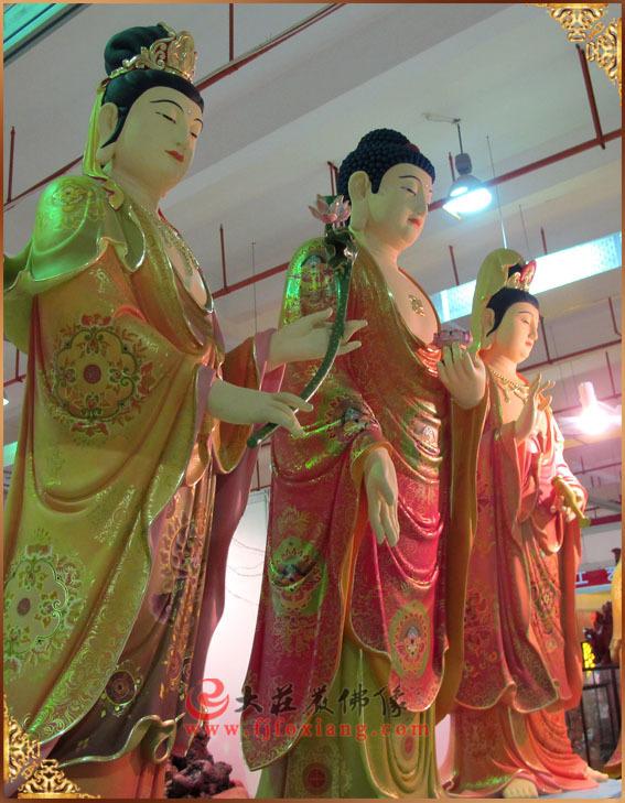 西方三圣彩绘佛像