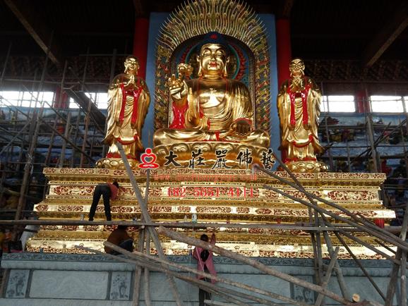万德寺一佛二弟子五百罗汉贴金塑像 释迦牟尼佛阿难迦叶尊者佛像雕塑定做