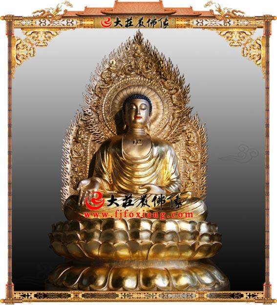 阿弥陀佛彩绘塑像 西方三圣无量光佛无量寿佛月巴墨佛三宝佛佛像定制