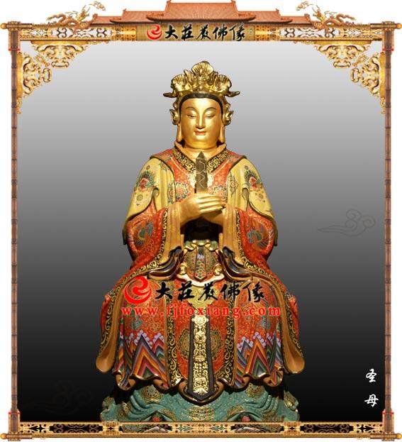 圣母彩绘贴金塑像 圣公圣母道教神像雕塑定制
