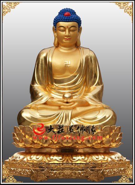 佛祖释迦佛贴金雕塑