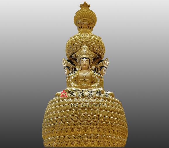 四面佛贴金塑像 印度教创造之神大梵天王佛像雕塑定制