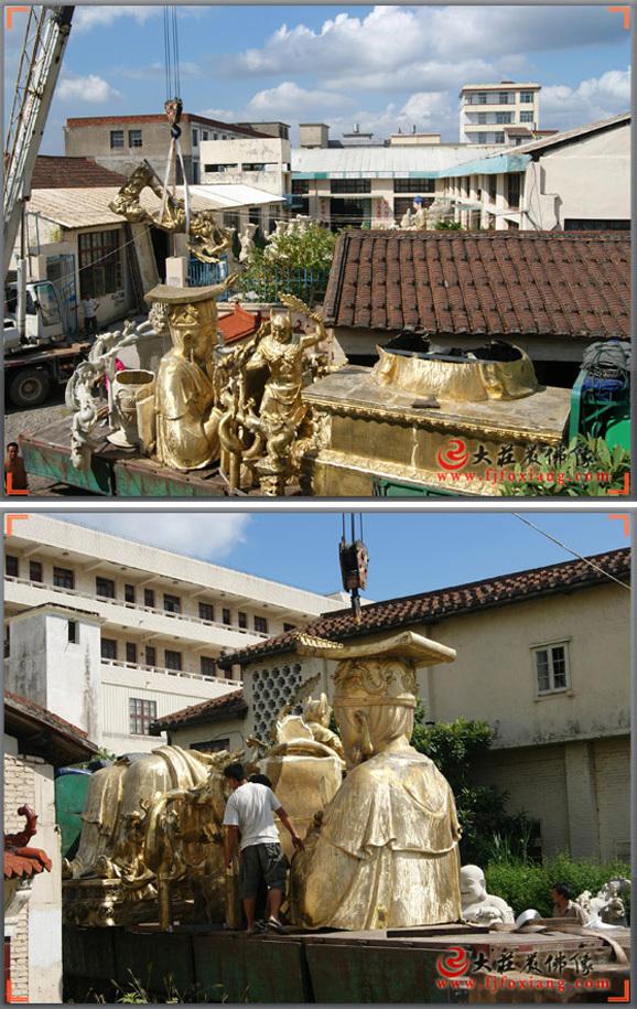 玉皇大帝铜雕神像安装现场实拍