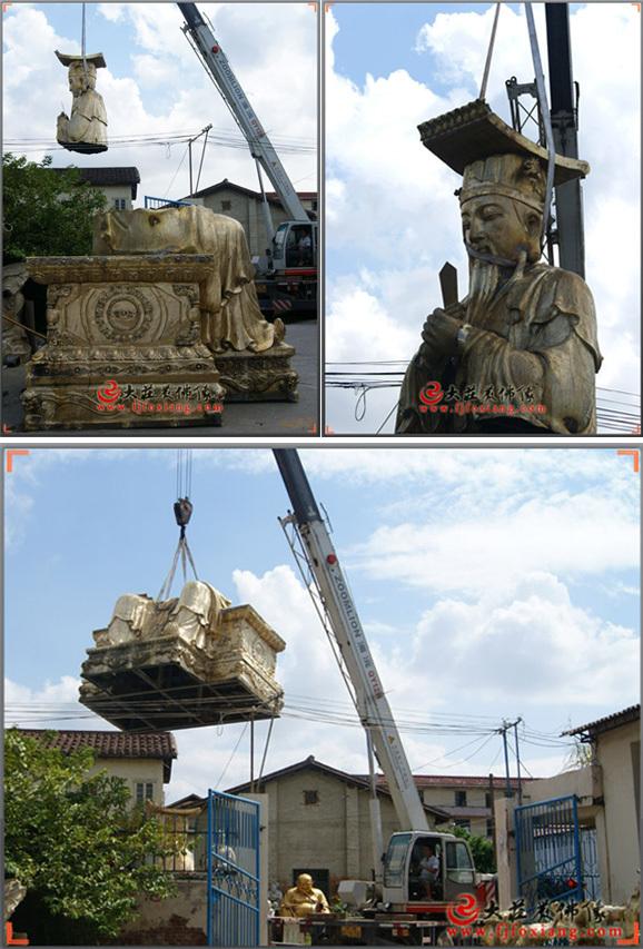 铜雕玉皇大帝头部吊装实拍