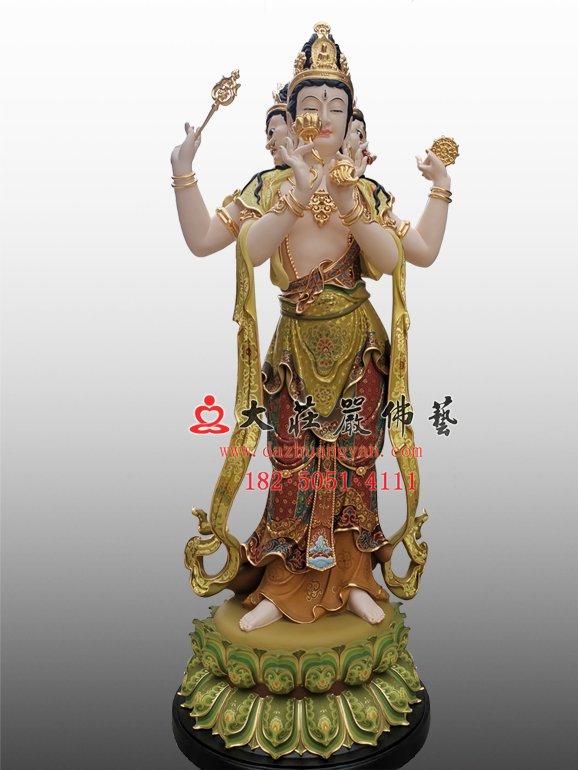 青颈观音脱胎佛像 青头观音塑像 三十三观音雕塑定制