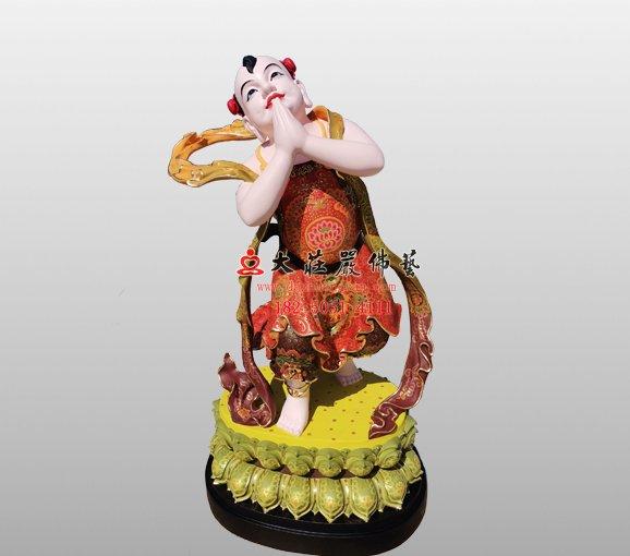 脱胎文殊菩萨弟子塑像 文殊菩萨弟子雕塑